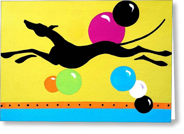 Greyhound Dog Greeting Cards - Greyhound Fun Greeting Card by Jennifer Howard