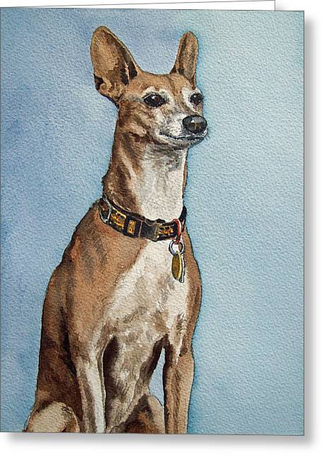 Greyhound Commission Painting By Irina Sztukowski Greeting Card by Irina Sztukowski