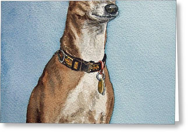 Greyhound Greeting Card by Irina Sztukowski