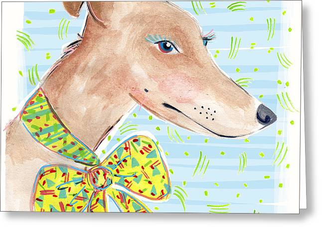 Border Drawings Greeting Cards - Greyhound Greeting Card by Jo Chambers