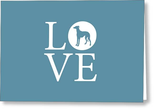 Greyhound Love Greeting Card by Nancy Ingersoll