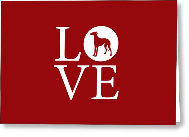 Greyhound Love Red Greeting Card by Nancy Ingersoll