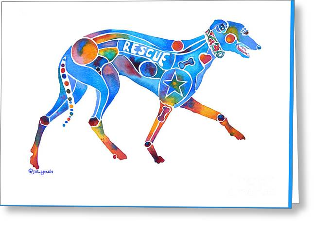 Greyhound Dog Greeting Cards - Greyhound Rescue GFFL Greeting Card by Jo Lynch