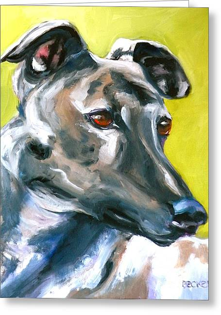 Greyhound Dog Greeting Cards - Greyhound Greeting Card by Susan A Becker