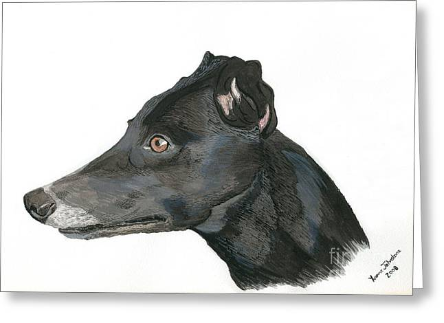 Greyhound Dog Greeting Cards - Greyhound Greeting Card by Yvonne Johnstone