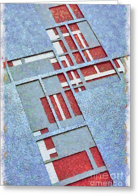 Red Abstracts Greeting Cards - Grid Abstract Greeting Card by Edward Fielding