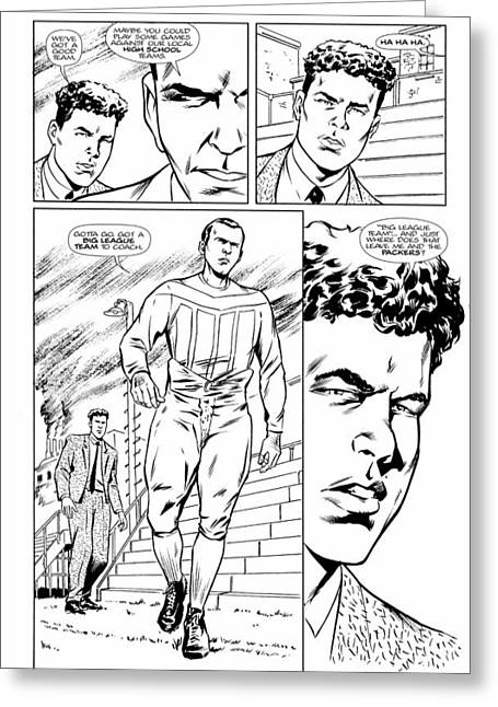 Gridiron # 1 Page 23 Black And White Collectors Edition Greeting Card by Greg Le Duc Ron Randall