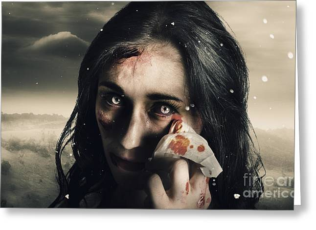 Tearful Greeting Cards - Grim face of horror crying tears of blood Greeting Card by Ryan Jorgensen