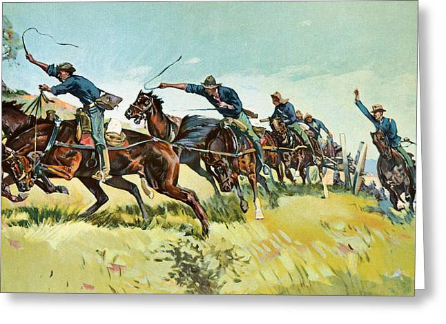 Grimes's Battery Going Up El Pozo Hill Greeting Card by Frederic Remington