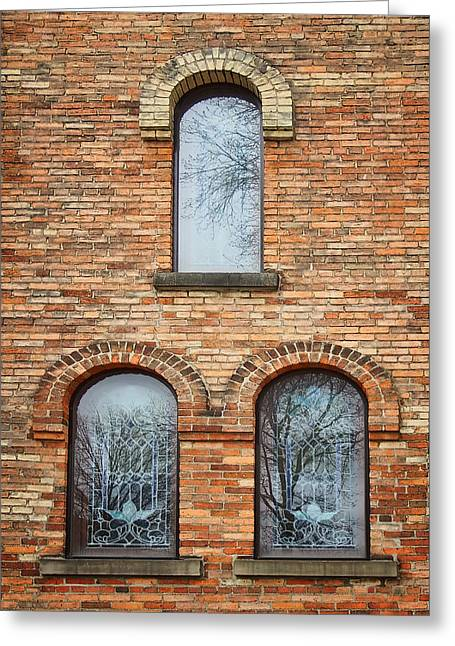 Grisaille Windows - First Congregational Church - Jackson - Michigan Greeting Card by Nikolyn McDonBell Tower - First Congregational Chuald