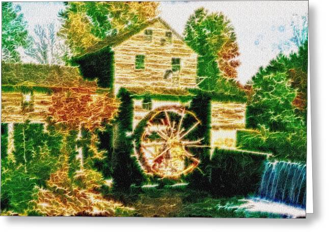 Pioneer Homes Digital Greeting Cards - Grist Mill Tranquility Greeting Card by Mario Carini