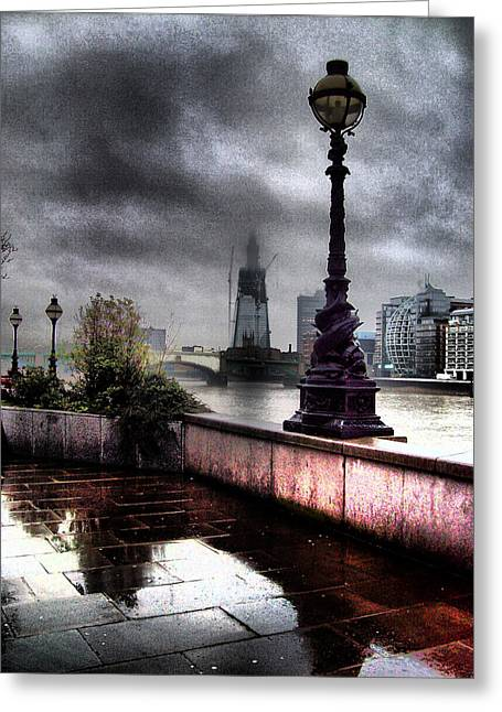 Raining Greeting Cards - Gritty Urban London Landscape Greeting Card by Martin Newman