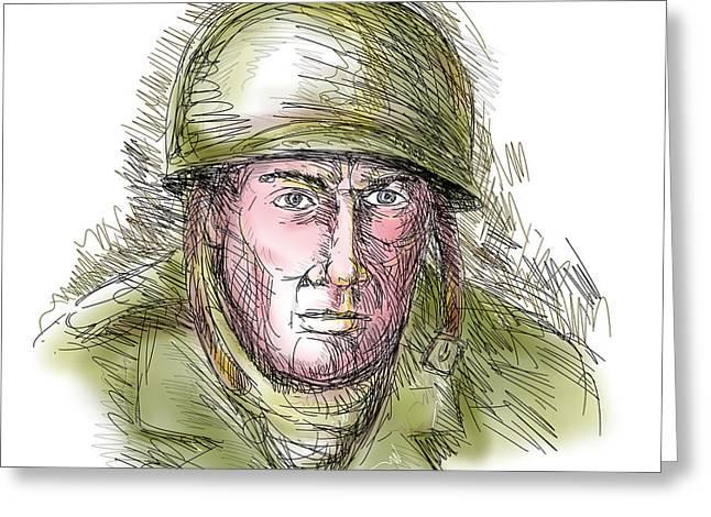 Gritty World War Two Soldier Greeting Card by Aloysius Patrimonio