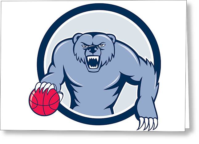 Growling Greeting Cards - Grizzly Bear Angry Dribbling Basketball Cartoon Greeting Card by Aloysius Patrimonio