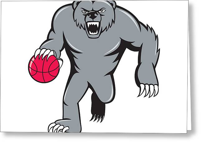 Growling Greeting Cards - Grizzly Bear Angry Dribbling Basketball Isolated Greeting Card by Aloysius Patrimonio