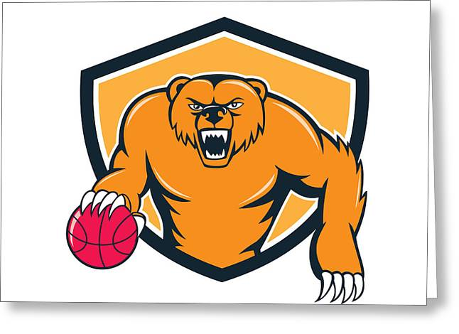 Growling Greeting Cards - Grizzly Bear Angry Dribbling Basketball Shield Cartoon Greeting Card by Aloysius Patrimonio