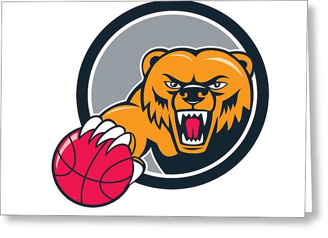 Growling Greeting Cards - Grizzly Bear Angry Head Basketball Cartoon Greeting Card by Aloysius Patrimonio