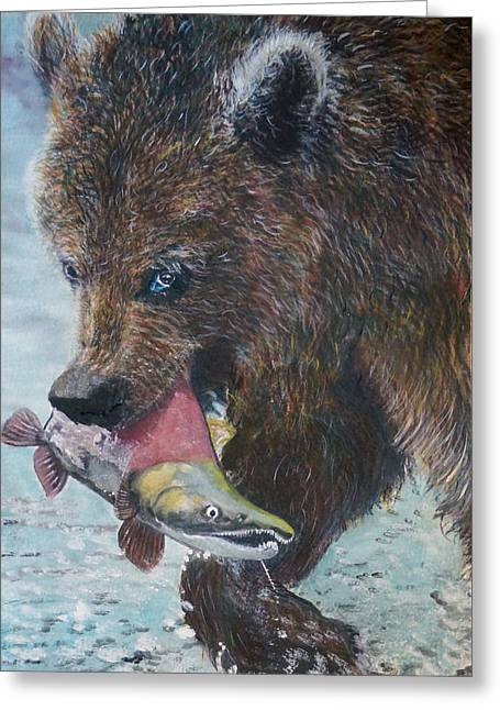 Coho Paintings Greeting Cards - Grizzly with Salmon Greeting Card by Penny Winn