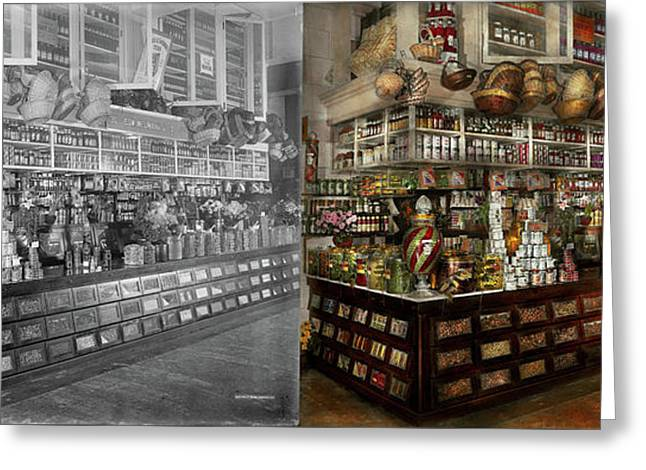 Grocery - Edward Neumann - The Groceries 1905 Side By Side Greeting Card by Mike Savad
