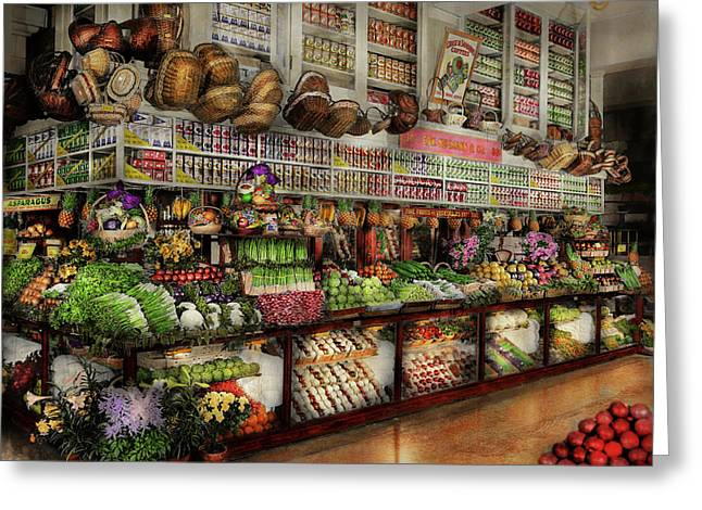 Grocery - Edward Neumann - The Produce Section 1905 Greeting Card by Mike Savad