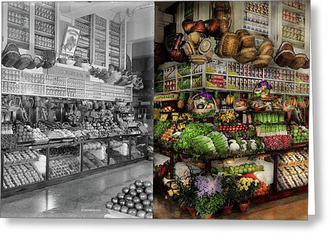 Grocery - Edward Neumann - The Produce Section 1905 Side By Side Greeting Card by Mike Savad