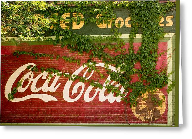 Grocery Store Photographs Greeting Cards - Grocery Stor CocaCola Sign Greeting Card by Douglas Barnett