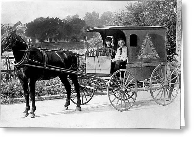 Horse And Cart Greeting Cards - Grocery Store Buggy Greeting Card by Underwood Archives
