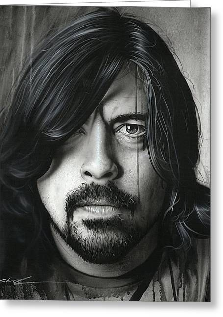 Foo Fighters Framed Prints Greeting Cards - Grohl in Black II Greeting Card by Christian Chapman Art