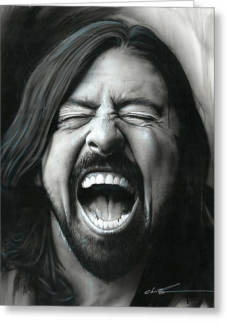 Dave Grohl - ' Grohl In Black IIi ' Greeting Card by Christian Chapman Art
