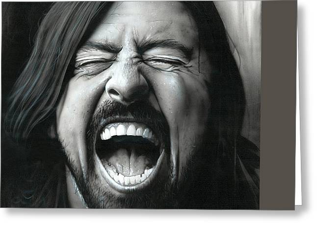 Dave Grohl Greeting Cards - Grohl in Black III Greeting Card by Christian Chapman Art