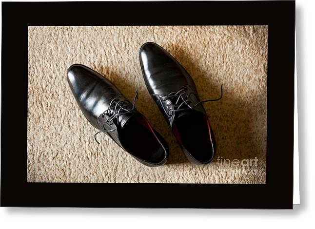 Footgear Greeting Cards - Groom Boots Called Derby Shoes Greeting Card by Arletta Cwalina