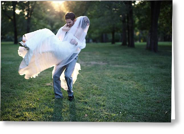 Sun Flare Greeting Cards - Groom Carrying Bride - F Greeting Card by Gillham Studios