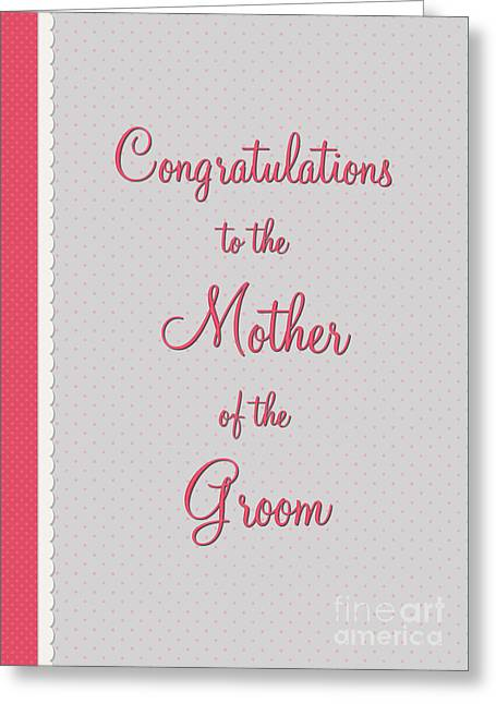Wife Greeting Cards - Groom Mothers Pink Polka Lace Greeting Card by JH Designs