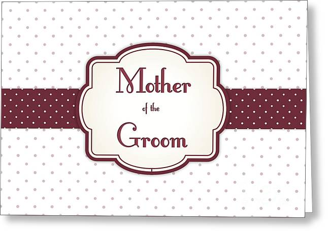 Wife Greeting Cards - Grooms Mother Brown Polka Dot Greeting Card by JH Designs