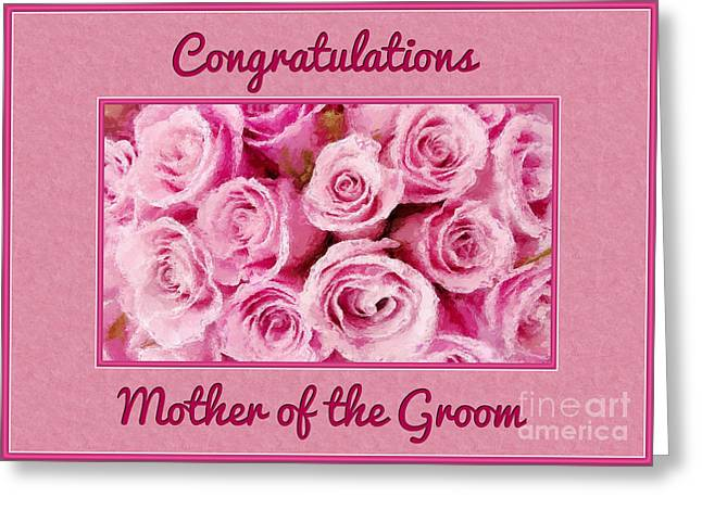 Wife Greeting Cards - Grooms Mother Painted Roses Greeting Card by JH Designs