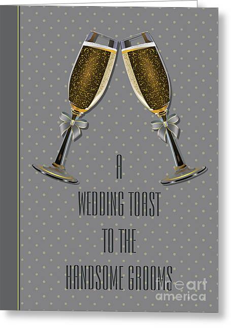 Wife Greeting Cards - Grooms Silver Toast Greeting Card by JH Designs
