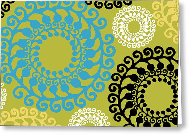 Mid-century Modern Greeting Cards - Groovy Circles Greeting Card by Mindy Sommers