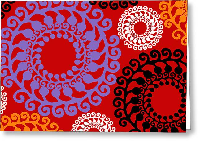 Mid-century Modern Greeting Cards - Groovy Circles Red Greeting Card by Mindy Sommers