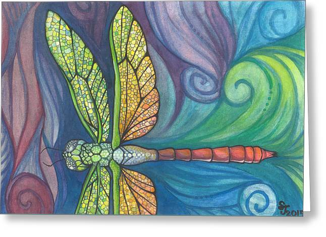 Dragonflies Greeting Cards - Groovy Dragonfly Spirit Greeting Card by Sarah Jane