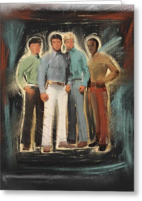 1970s Fashion Greeting Cards - Groovy Dudes Greeting Card by Russell Pierce