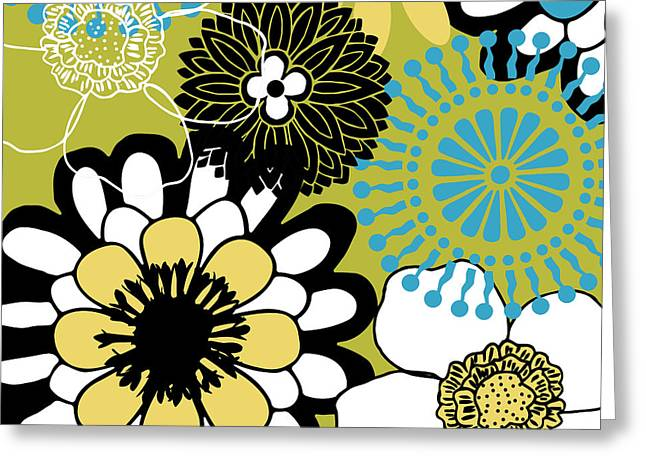 Mid-century Modern Greeting Cards - Groovy Floral Pattern Greeting Card by Mindy Sommers