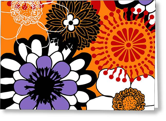 Mid-century Modern Greeting Cards - Groovy Floral Pattern Red Greeting Card by Mindy Sommers