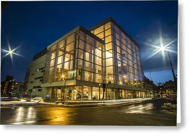 Groovy Modern Architecture One Wintry Night Greeting Card by Sven Brogren