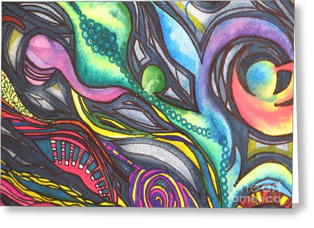 Fantasty Greeting Cards - Groovy Series Titled My Hippy Days  Greeting Card by Chrisann Ellis