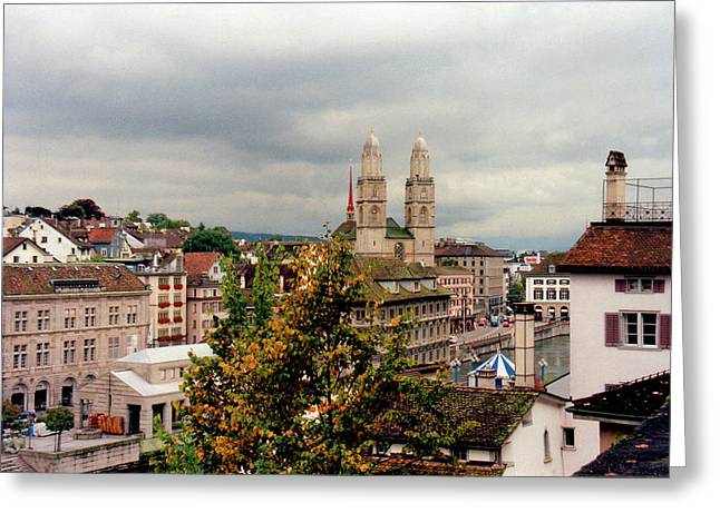 Touristy Greeting Cards - Grossmuenster Church Zurich Switzerland Greeting Card by Susanne Van Hulst