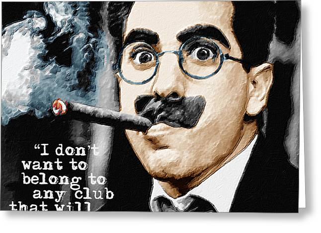 Comedian Greeting Cards - Groucho Marx And Quote Square  Greeting Card by Tony Rubino