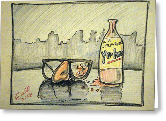 Groucho Marx Glasses Stained With Strawberry Yoo-hoo 2008 Greeting Card by Mike Etoll