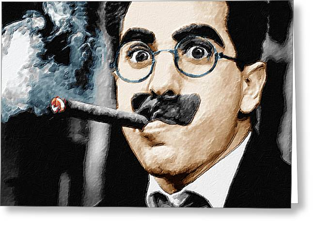 Comedian Greeting Cards - Groucho Marx Square  Greeting Card by Tony Rubino