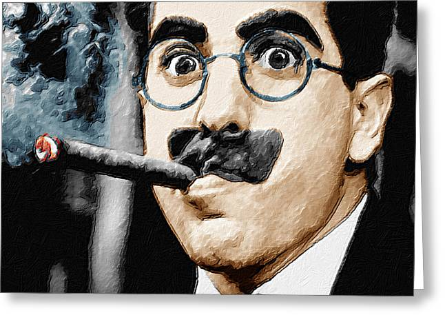 Comedian Greeting Cards - Groucho Marx Vertical  Greeting Card by Tony Rubino