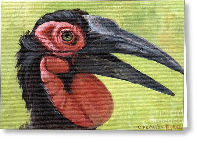 Hornbill Paintings Greeting Cards - Ground Hornbill Greeting Card by Svetlana Ledneva-Schukina